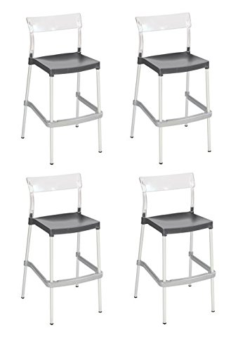 Tensai Madrid Bar Stool - Durable Plastic in Transparent with Anthracite Seat - Set of 4 (Chair Madrid Accent)