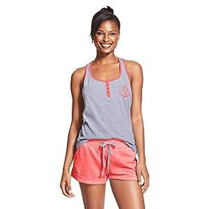 U.S. Polo Assn. Womens Pajama Sets Racerback Tank and Shorts Sleepwear PJs Set Heather Gray/Georgia Peach Medium