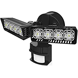 Upgraded SANSI LED Security Motion Sensor Outdoor Lights, 30W (250W Incandescent Equivalent) 3400lm, 5000K Daylight, Waterproof Floodlights, Black