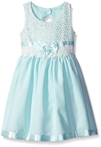 Bonnie Jean Little Girls' Toddler Lace Bodice Over Linen Dress, Aqua, 2T