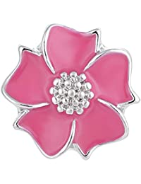 Snaps 4 Colors 18mm Hand Painted Flower Charms Alloy Button Vn-1326 Pack of 2pcs