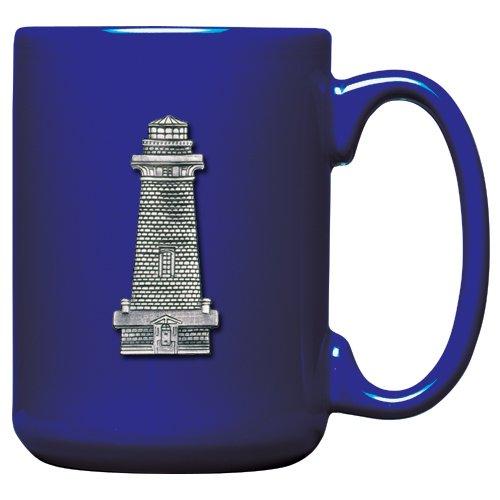 1pc, Pewter Lighthouse Coffee Mug, Cobalt ()