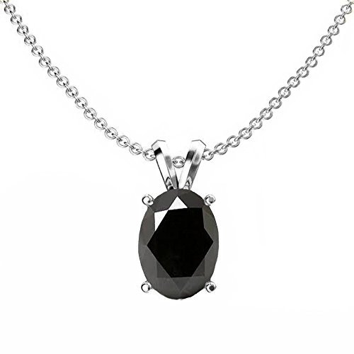 (Fingalo Sterling Silver 8x6 mm Oval Cut Black Sapphire Ladies Solitaire Pendant (Silver Chain Included) (Comes with an 18