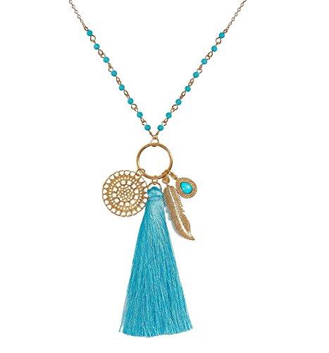 Long Necklaces Bohemia Tassel Leaf Teardrop Disk Circle Pendant Necklace for Women Girls Y Shaped Necklace Sets (Lake Blue)