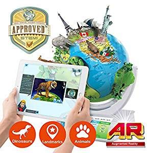 Oregon Scientific SG338R Smart Globe Explorer AR Educational Globe with Earth's Inner Core, Solar System, Pullout US Map, and Bluetooth Pen