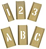 Interlocking Stencil, Letters and Numbers, 1'', Brass, 1 EA - 3W647