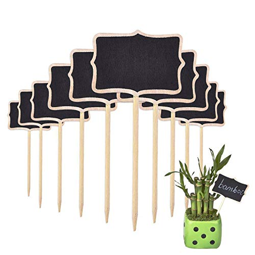(EMAZON 10 Pieces Mini Wood Chalk Board Blackboard for Plant Tag Markers/Mini Menu Food Label/Home Wedding Party Decorative Signs - 2.38 x 3.38 inches)
