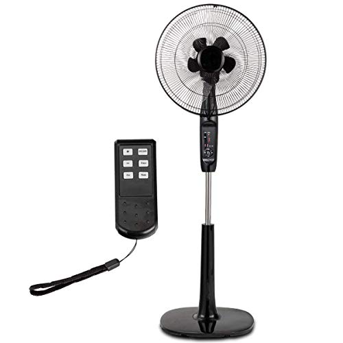 COSTWAY Pedestal Fan Oscillating Stand Fan Adjustable Whisper Quiet Cooling Fan for Home and Office with Remote Control