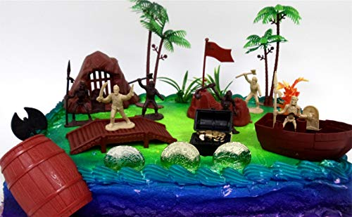 PIRATE Themed Birthday Cake Topper Set Featuring Pirate Figures and Decorative Themed Accessories