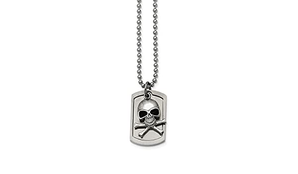 """Chisel Stainless Steel Polished /& Antiqued Finish Skull Link Chain Necklace 24/"""""""