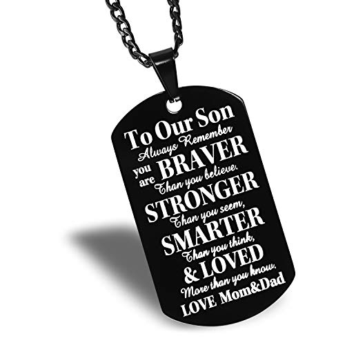 to Our Son Black Dog Tag Father to Son Mother to Son Necklace - to Our Son, Always Remember You're Braver Than You Believe. (to Our Son)
