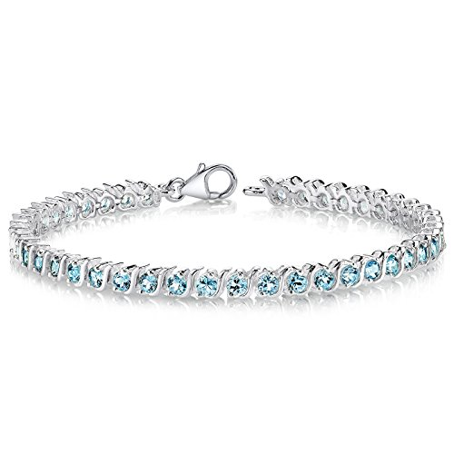 London Blue Topaz Tennis Bracelet Sterling Silver 5.25 Carats S Style by Peora