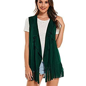 AS ROSE RICH Fringe Vest Vintage Hippie Look - Faux Suede Cardigan - Ethnic Tassels Top Female