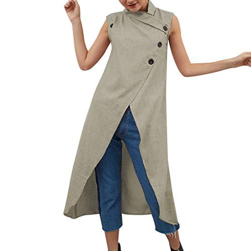 Cotton Linen Tops for Women,Chaofanjiancai Ladies Irregular Hem Shirt Sleeveless Halter Neck Button Split Blouses Yellow