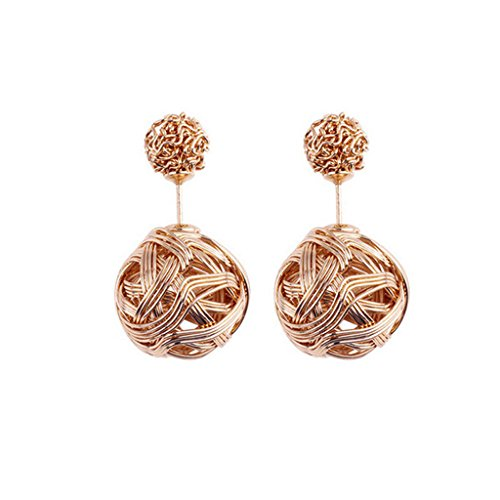 Usstore 1pair Women's Show Double Crystal Ball Ear Stud Earrings Jewelry Gift (Gold) (That 70s Show Outfits)