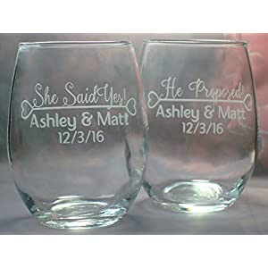 Engagement Gift Engaged Couple Gift He Proposed - She Said Yes Pair of Engaged Personalized 15 oz stem less wine glasses