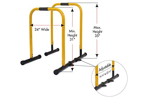 ProsourceFit Dip Stand Station, Heavy Duty Ultimate Body Press Bar with Safety Connector for Tricep Dips, Pull-Ups, Push-Ups, L-Sits, Yellow by ProsourceFit (Image #1)