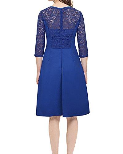 Damen Vintage 3/4 Ärmel Elegant Cocktailkleid Spitzenkleid Blau lIjI9YxyR