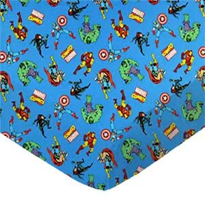SheetWorld 100% Cotton Percale Fitted Crib Toddler Sheet 28 x 52, Marvel Comics Blue, Made in USA