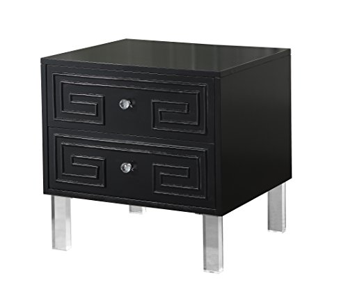 Finish Lacquer Black - Iconic Home Plato Stylish Accent Furnishing Modern Lacquer-Finish Lucite Leg Side Table, 24