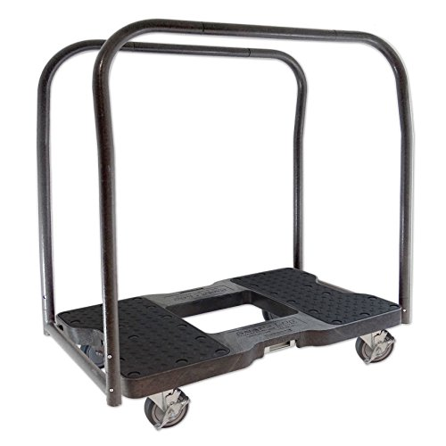 SNAP-LOC PANEL CART DOLLY BLACK with 1500 lb Capacity, Steel Frame, 4 inch Casters, Panel Bars and optional E-Strap Attachment