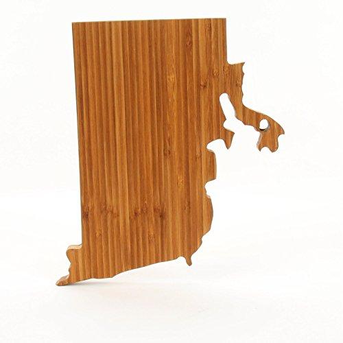 Cutting Board Company Rhode Island Shaped Cutting Board, Bamboo Cheese Board Rhode Island Block Island