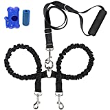 SONQUEEN Double Dog Leash, No Tangle Adjustable Bungee Dual Dog Lead with Hand-protected Foam Handle, Super Shock Absorbing Reflective Rope for Small/Medium Dogs - with waste bag & dispenser