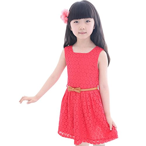 Summer Baby Girl Cotton Cute Mini Lace Vest Princess Dress Kids Costume (Red, 11-12 Year) ()