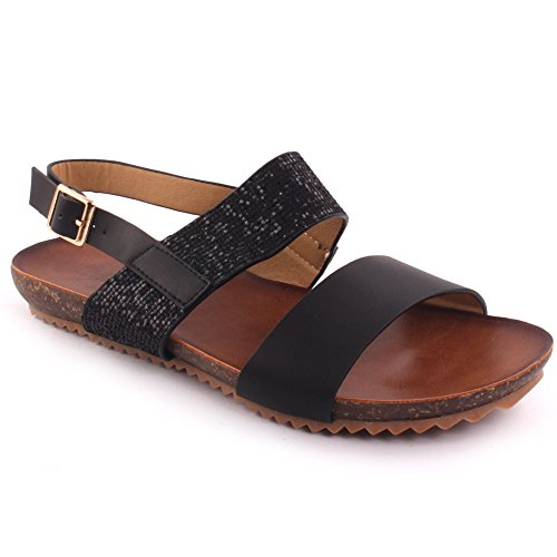 Unze New Women  Edie  Glittered Double Strap Summer Beach Party Get Together Carnival School Casual Flat Sandals Uk Size 3 8   3T8605 3