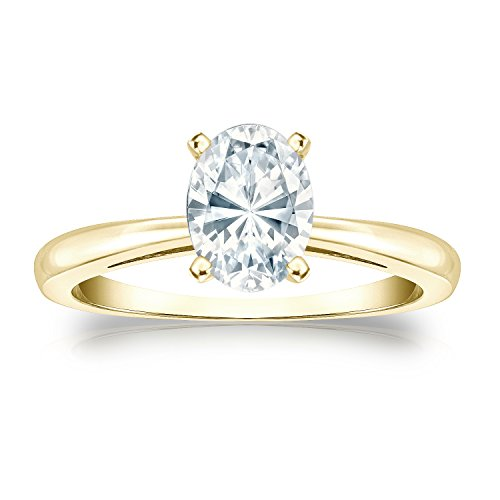 14k Yellow Gold Oval Diamond Simulant CZ Solitaire Ring 4-Prong(1 ct,Excellent (Four Prong 14ky Gold Solitaire)