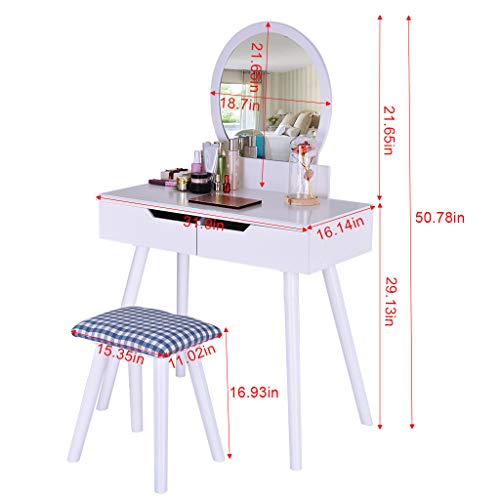 Sonmer Vanity Set with Mirror, Cushioned Stool, Storage Shelves, Drawers Dividers ,3 Style Optional, Shipped from US - Two Day Shipping (#2, White) by Sonmer (Image #5)
