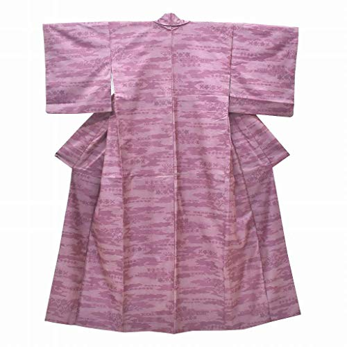 雷雨学んだ降下(着物ひととき) リサイクル着物 紬 中古 化繊 花文様 紫系 身丈154cm Mサイズ 裄63cm Sサイズ ll2339b