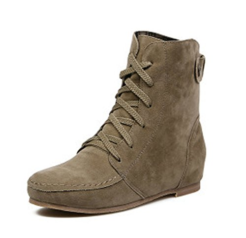 Color Ancke Up Flat Round Shoes Autumn Martin Khaki Lace Fashion Casual Flat Boots Plaid Toe Maybest Leather Solid Women wOzXPqv