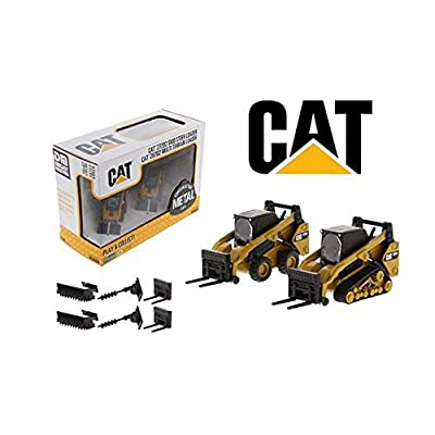 New DIECAST Toys CAR CAT 1:64 Skid Steer Loader & Compact Track Loader with Accessories 85609: Toys & Games