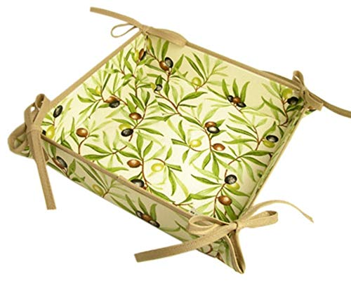 Provence Bread Basket by Tissus Toselli - Olive Design -Tan Ties & Trim