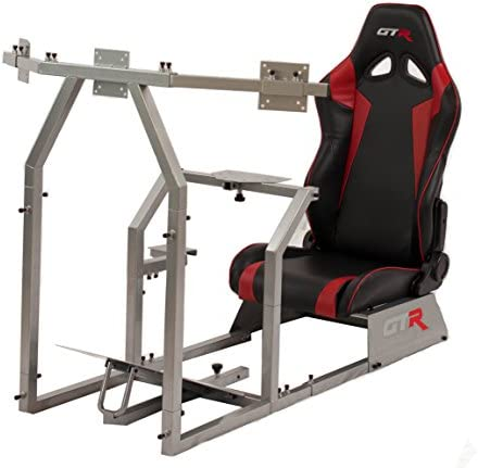 GTR Simulator GTAF-S-S105LBKRD – GTA-F Model Silver Triple or Single Monitor Stand with Black Red Adjustable Leatherette Seat, Racing Simulator Cockpit Gaming Chair Single Monitor Stand