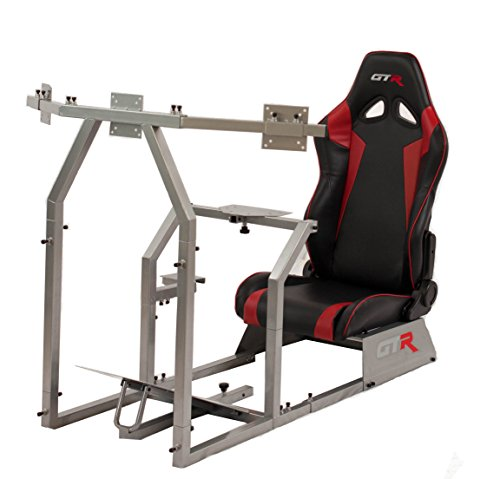 GTR Racing Simulator GTAF-S-S105LBKRD – GTA-F Model (Silver) Triple or Single Monitor Stand with Black/Red Adjustable Leatherette Seat, Racing Simulator Cockpit gaming chair Single Monitor Stand For Sale