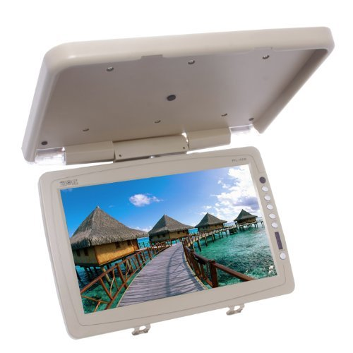 Absolute PFL157IRC 15 Inch Swivable TFT/LCD Flip Down Monitor High Resolution Built-In IR Transmitter and Full Function Remote Control (Tan/Cream)