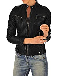 100% Leather Jacket for Women - Round Collar, Slim Fit & Quilted - Moto, Bomber, Biker Winter Casual Wear