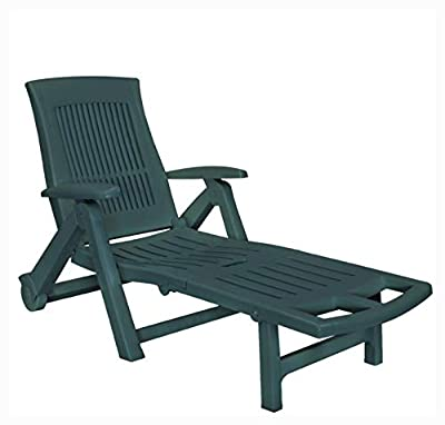 K&A Company Sun Lounger, Sun Lounger with Footrest Plastic Green