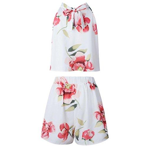 Blanc Dentelle T Femme Ensemble Shirt Imprime Volant et Blouse Ample Bretelle Rtro Dbardeur Fleurs Angelof Shorts wx107ZfZqT