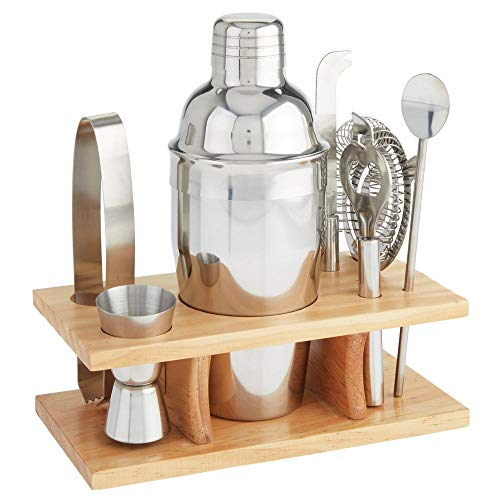 mDesign 8 Piece Cocktail Shaker Bartender Set - Stainless Steel Bar Tools with Bamboo Wood Storage Organizer Caddy Stand for Bar Tending, Mixing Drinks, Entertaining, Party Hosting - Polished/Natural -