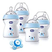 Chicco NaturalFit Newborn Gift Set - Blue Deco, 4 Pack Baby Bottle Set Plus Orthodontic Pacifier with Soft-flex Silicone Nipple