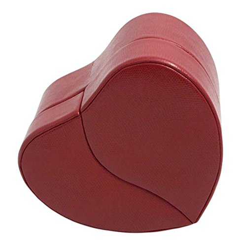 Time Factory AJ-BB544RED Lizard Leather Heart Shaped Jewelry Box with Removable Travel and Multiple Compartments, Red ()