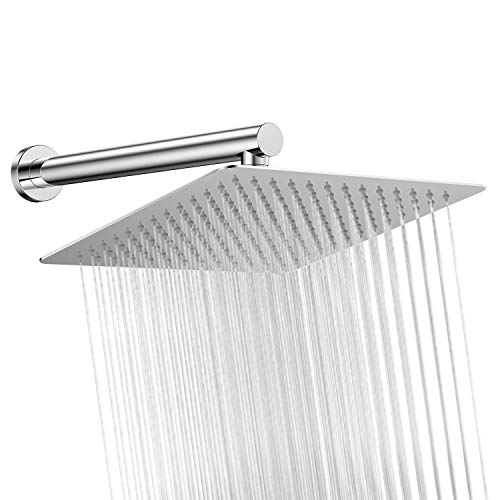 Lotusfalls 12 inch Rainfall Square Shower Head and 16'' showerhead Extension arm with Flange Chrome 16' Wall Shower Arm