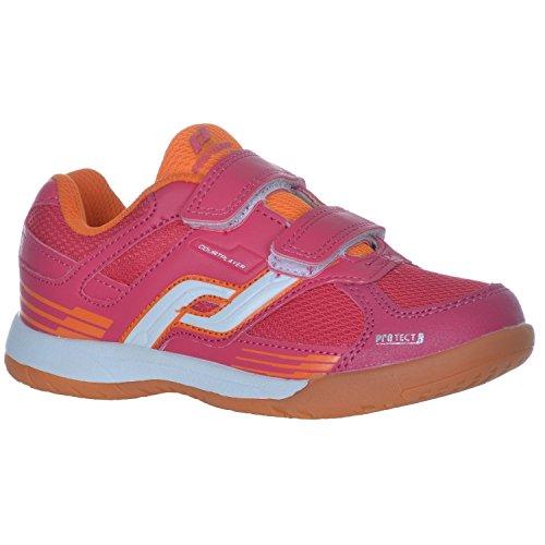Pro Touch Kinder Indoor -Schuh Courtplayer Klett Rot / Orange -31 (EU)