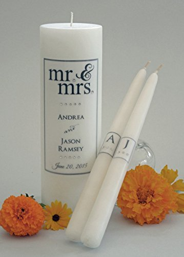 Mr. and Mrs. Wedding Unity Candles - Black