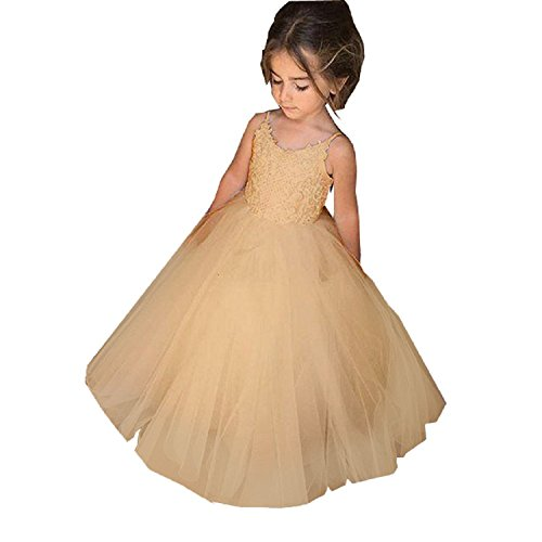 PLwedding Flower Girls Lace Tulle Ball Gowns First Communion Dresses (6, Champagne)