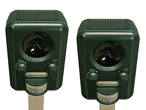 Selections Set of 2 Solar Powered Ultrasonic Cat, Dog and Rodent Repeller...