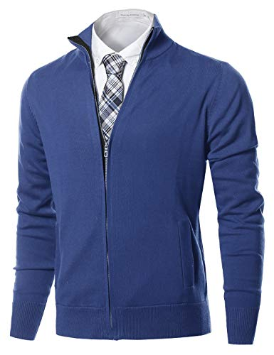 - Classic Full Zip Up Mock Neck Basic Sweater Cardigan Top Blue Size 2XL